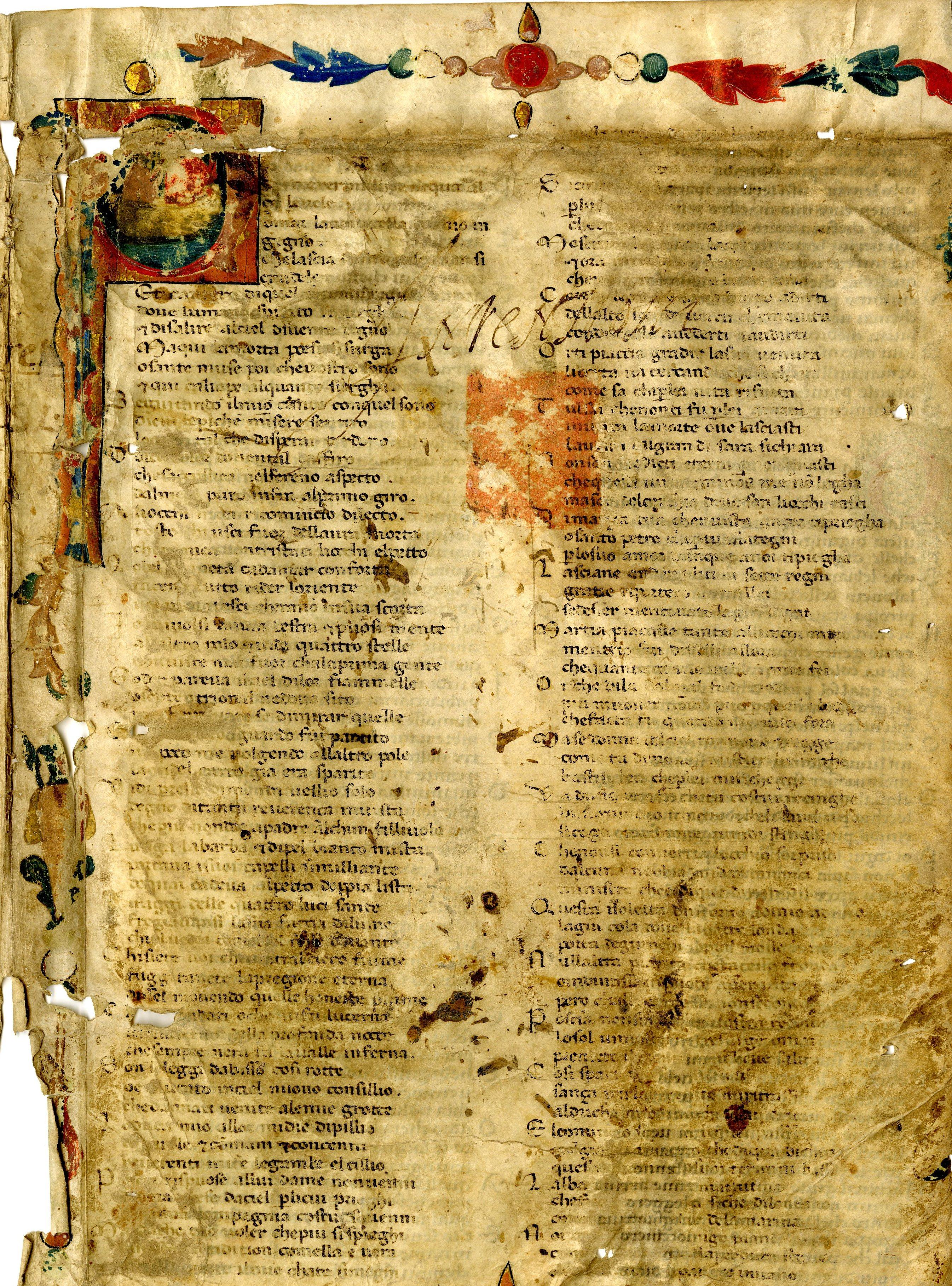 si tratta di frammenti della Divina Commedia di Dante Alighieri in cui compaiono alcuni canti dell'Inferno e del Purgatorio) venne ritrovato nell'archivio del Comune di Forlì.