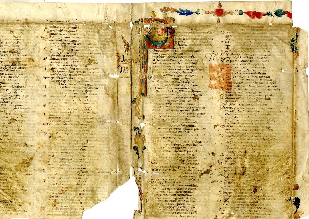 frammento divina commedia patrimonio dantesco biblioteca Forlì